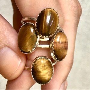 Jewelry - sterling silver tigers eye cocktail ring ✨